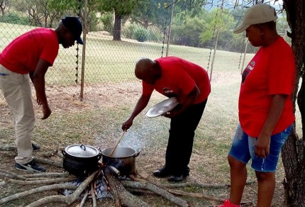 Hungry strikers set up cooking fires during weeklong protest